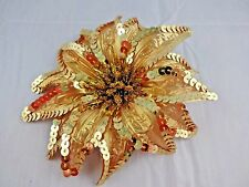 Sequin flower gold glitter hair clip ponytail band pin dancer 6 inches diameter