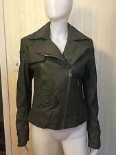 Women Grey Leather Jacket Steve Madden Crinkle Biker $298.00 Size Medium 4 6