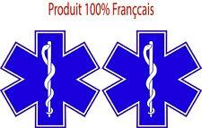 LOT DE 2 Stickers Adhésif Autocollants Ambulancier pour véhicule 20cm de diam