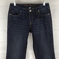 CATO Premium Petite Womens 8P Stretch Dark Wash Mid Rise Flare Detailed Jeans