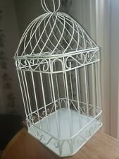 Unbranded Small Hanging White Metal Hanging Birdcage