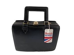 Vintage British Airways Flight Attendant Black Vanity/Cabin Bag With Key