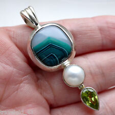 Agate Pendant Peridot Pearl Solid Sterling Silver 925 Handmade Jewellery