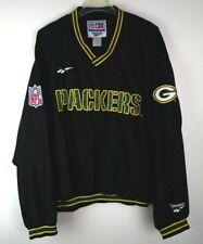 New listing Vtg Green Bay Packers Reebok Pro Line Windbreaker Size XL Black V-Neck Pullover