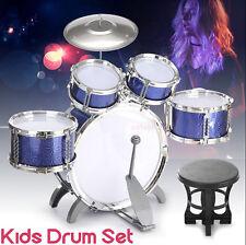 Blue Toy Children Kids Drum Set Kit Musical Fun Toy 5 Drum Stool & Sticks Set