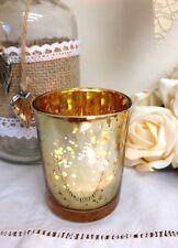 Mercury Glass Antique Gold Tea Light Holder Candle Votive Christmas Decoration