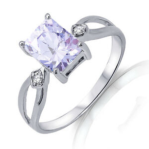 Emerald Shape Lavender CZ Genuine Sterling Silver Ring 3.10 Ctw