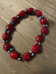 Glass Ladybug Beaded Elastic/Stretch Bracelet