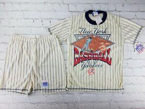 NWT Vintage 1990's New York Yankees Pinstripe Shirt Shorts Sz 8-10 MLB Baseball