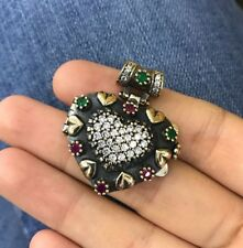 Turkish Handmade Sterling Silver 925 Ruby & Emerald Pendant