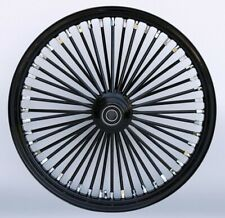 "Black & Black Ultima King Spoke 21"" x 2.15"" Frt Single Disc Wheel Harley Custom"