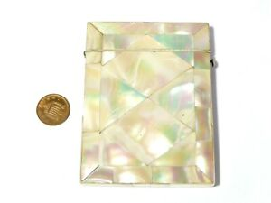 Antique Mother Of Pearl Mosaic Covered Card Case with MJB Initials A/F