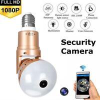 1080P WiFi Hidden HD Bulb Camera 360° Panoramic Fisheye Cam Two-Way Speaking D