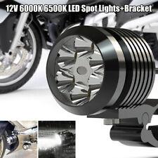 Motorcycle Universal LED Light Headlight 6500K Fog Driving Lamp Lights w/Bracket