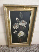 43062 Antique Victorian Floral Oil Painting on Board