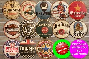 WOODEN CIRCLE SIGNS Vintage Rustic Bar Pub Retro Garage Mancave Gift Plaque Shed