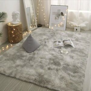 Contemporary Grey Soft Floor Carpet Modern Rug Velvet Mat For Living Room Area
