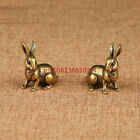 A Pair of Vintage Brass Solid Zodiac Bunny Home Tea Pet Ornaments