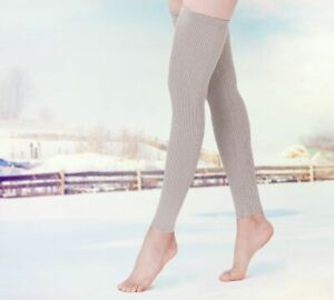 High Knee Wool Thick Leg Warmers Women Winter Ribbed Knit Warm Soft Boot Gaiter