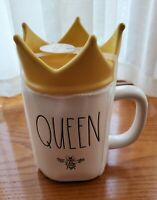"Rae Dunn ""QUEEN BEE ""White Ceramic Coffee Mug With Yellow Crown Topper"