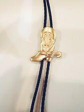 Men's Bolo Tie Gold Tone Boot with Black Leatherette CORD