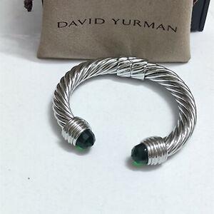 David Yurman Cuff Cable Bracelet Green Onyx with 14K Gold Bangle DY 10mm Classic