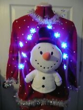 Lights UP!!!! women's Tacky Ugly Christmas Sweater Size M