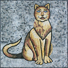 Pet Animals Brown Cat House Decor Marble Mosaic An948