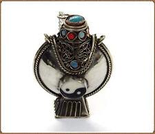 Huge Tibetan Filigree 11 Turquoise Coral Ying Yang Spoon Snuff Bottle Pendant