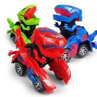 Electric Transforming Dinosaur LED Car With Light Sound for Kids Xmas Gift