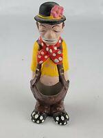 """Vtg 1970s Satire Ceramic Adult Humor Sad Face Hobo Clown Cactus Planter 6.5"""" C"""