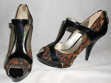 New Guess leopard print / black patent leather shoes US8,5  RRP £115