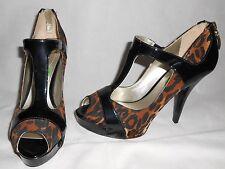 Nuevo Guess Estampado de Leopardo/Charol Negro Zapatos De US8, 5 PVP £ 115