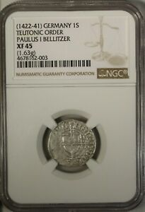 Germany  Schilling 1422-41 NGC XF45 Silver  Teutonic Order Paulus I Bellitzer