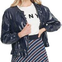 DKNY Women's Bomber Jacket Blue Size Large L Full Zip Drawstring $139 #207