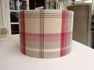 Handmade Lampshade Porter & Stone, Balmoral Tartan Cranberry Red Cream Beige