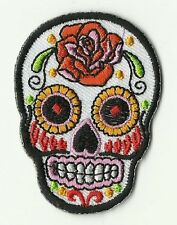 PETIT ECUSSON PATCH THERMOCOLLANT GIRL SKULL BLANC MEXICAN TATTOO 5,6 X 4 CMS