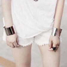 Cuff Fashion Punk Bracelets Women Metallic Chains Wide Bangle Mirror