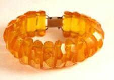 Vintage Natural Baltic Amber Hand Made Bead Clasp Wide Bracelet