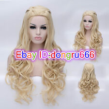 2018 New Movie Princess Cinderella Long Blonde Synthetic Wavy Cosplay Wigs