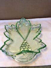 Tiara Green Glass Leaf Shaped Relish Dish