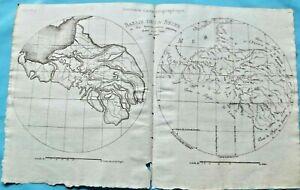 Ancienne Estampe Eau Forte  Première carte Géographique Bassin de la Seine 1784