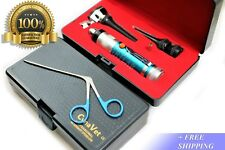 NEW! VETERINARY OTOSCOPE + ALLIGATOR FORCEPS-ANIMAL DIAGNOSTIC KIT-BLUE HANDLE