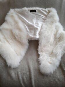 Bridal Wedding Faux Fur Long Shawl Stole Wrap Shrug