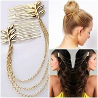 Hair Accessories Triple Gold / Silver Chain With Leaf Comb Head For Women GiWD