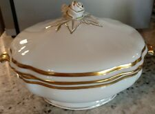 Raynaud MARIE ANTOINETTE Covered Vegetable Bowl heavy gold trim Limoges Ceralene