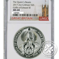 2017 2 OZ SILVER COIN NGC MS 68 GREAT BRITAIN QUEEN'S BEASTS - THE GRIFFIN