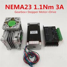 Nema23 Stepper Motor Driver Kit 1.1NM 3A L56mm & Worm Geared Speed Reducer 15:1