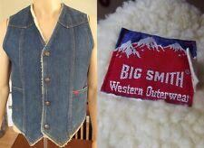 USA Vtg Mens SMALL Big Smith Sherpa Lined Denim Blue Jean Jacket Vest western