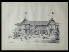 PAVILLON DES FORETS, EXPO UNIVERSELLE - 1889 - PLANCHE ARCHITECTURE - LEBLANC